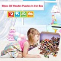 60pcs/set Cartoon Wooden Puzzle Toys For Children High Quality Baby Toys Educational Jigsaw Puzzles Toys With Iron Box Package