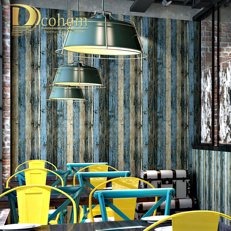PVC&Vinyl Brown Waterproof Rustic Wood Block Textured Vintage Wallpaper Roll Plank Wall Paper For Living Room Background Decor паркетная доска baltic wood дуб rustic light brown 2200x182x14 мм