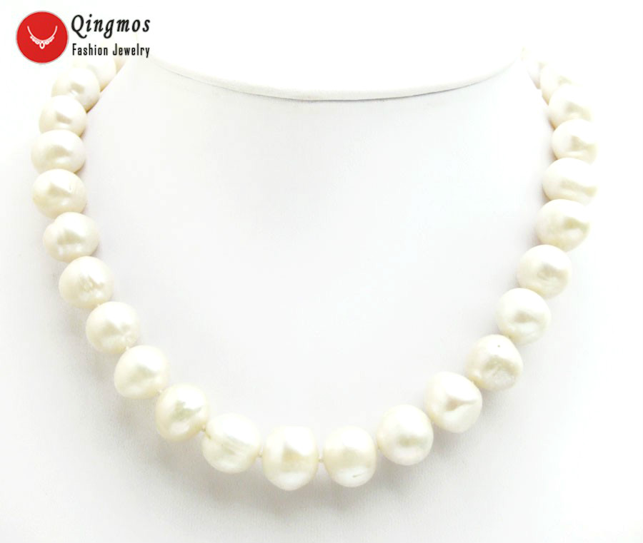 Qingmos Trendy Natural Pearl Necklace for Women with 12-13mm Round White Freshwater Pearl Chokers Necklace Jewelry 17 nec6511Qingmos Trendy Natural Pearl Necklace for Women with 12-13mm Round White Freshwater Pearl Chokers Necklace Jewelry 17 nec6511