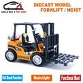 15Cm Length Diecast Construction Forklift Hoist Model Cars, Boy Truck Toys With Pull Back Function/Sound/Light/Gift Box For Kids