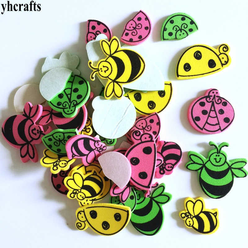 30pcs/lot.bee Ladybug Butterfly Insect Foam Stickers Kindergarten Crafts Activity Items Kids Room Ornament Birthday Gifts Sales