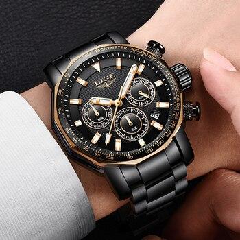 цена на Men Watch LIGE Top Brand Luxury Fashion Quartz Clock Men's Business Waterproof Big Dial Military Sport Watches Relogio Masculino