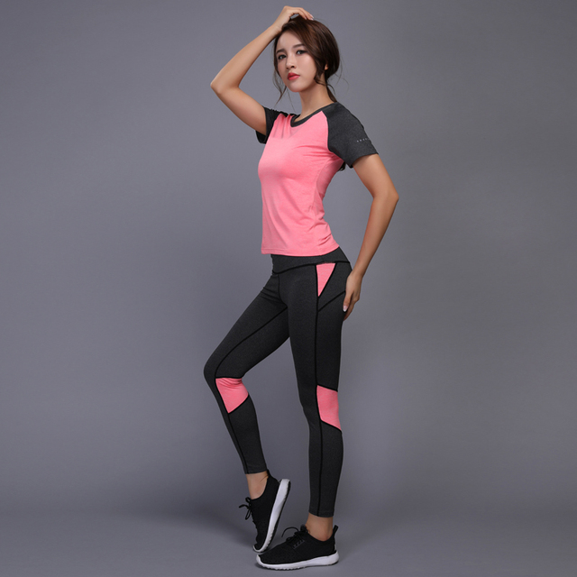 88ee70b1c527 2018 Sexy Women Fitness Running Shirt+Pants Breathable Gym Workout Clothes  Compressed Yoga Leggings Sport
