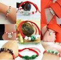 Linha corda vermelha sorte nó do vintage jóias pulseira pulseiras para as mulheres corda vermelha jade contas étnicas pulseiras & bangles presente 0543