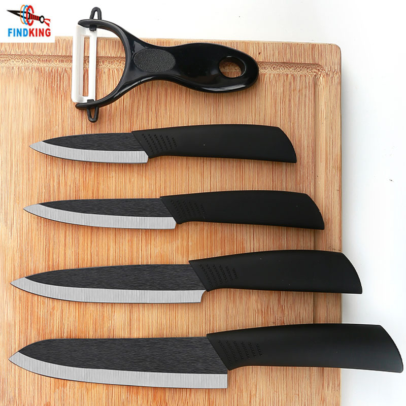 """FINDKING de alta calidad Zirconia hoja negra 3 """"4"""" 5 """"6"""" pulgadas + pelador + cubiertas de cuchillo de cerámica juego de cuchillo para pelar frutas"""