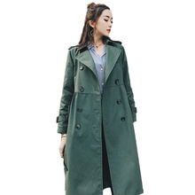 2017 Long Trench Coat For Women Spring Coat Double Breasted Casaco Feminino Autumn  Windbreaker Outerwear Abrigos Mujer C184