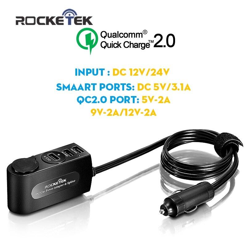 imágenes para Rocketek coche-cargador Rápido 2.0 3 Inteligente IC USB 3.1A Adaptador de Cargador de Coche con cargador de coche Encendedor
