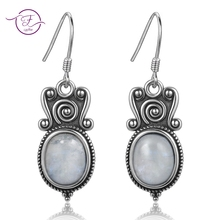 New Arrival 8x10MM Oval Moonstone Drop Earrings For Women 925 Sterling Silver Party Engagement Wedding Fine Jewelry Earring Gift metjakt natural oval clear moonstone drop earrings solid 925 sterling silver hook earring opal for women s fine jewelry