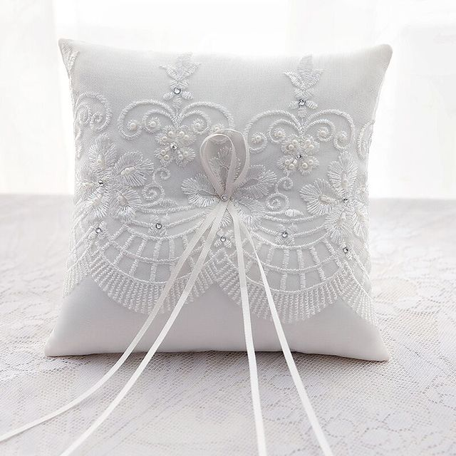 19X19cm Top Quality Wedding Ring Pillow Cushion Lace Embroidered ...