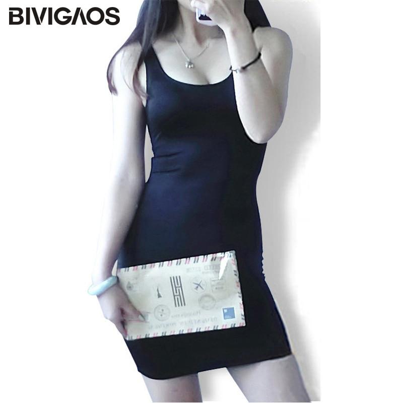 d8abdb6ba3bc5 BIVIGAOS الصيف اللباس الأسود لامعة النساء Bodycon اللباس سوبر المرونة  المادة  Chinlon قاعدة الأقواس مثير اللباس سترة بلا أكمام اللباس النساء