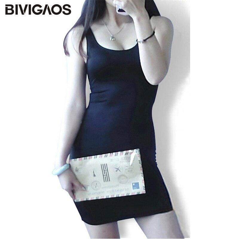 BIVIGAOS Summer Dress Black Glossy Women Bodycon Dress Super-Elastic Chinlon Base Braces Sexy Dress Sleeveless Vest Dress Women