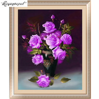 5D Diy Diamond Painting Purple Rose Flower Diamond Embroidery Cross Stitch Wall Sticker Home Decoration Round