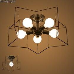 Lampy sufitowe do salonu oprawa lampy nowoczesne Nordic rocznika innowacyjne proste mody gwiazda kształt LED E27 światło dla cafe