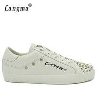 CANGMA Lüks Tasarımcı Ayakkabı adamın Perçinler Rahat Ayakkabılar Hakiki Deri Beyaz Sneakers Erkek Flats Dayanıklı Lace Up Ayakkabı Erkek