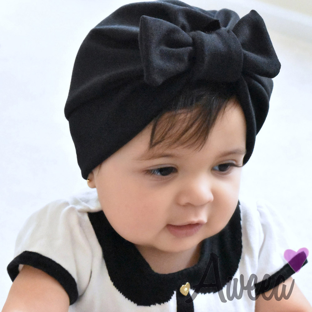 9d37ea6be 2019 Cotton Newborn Baby Top Knot Beanies Hats Boys Girls Bow Candy ...