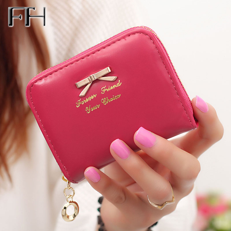 Hot sweet Candy Color Women mini zipper bowknot Wallets Female Change Purse Card Holders carteras lovely Coin Purses for girls pacgoth creative pvc waterproof cute carton candy color purse dessert donuts summer sweet hearts zipper coin purses money bag