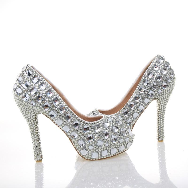Chaussures Haute Heels Strass Bal En Mariée Cristal 4 Talons Bout Femme De Argent silver Pouces 12cm Peep Silver Toe 10cm Cendrillon Heels Mariage Ouvert Partie Pompes À dPwqx7Ig