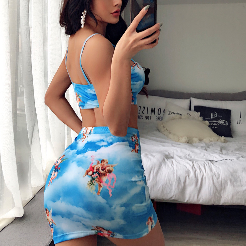 InstaHot Angel Printed Bodycon Sets Women Cupid 2 Pieces Sets Sexy Sleeveless Camis Short Crop Tops Blue Cute Cherub Mini Skirts