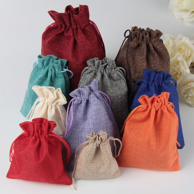 50pcs/pack (15x20cm) Vintage Natural Burlap Gift Candy Bag Wedding Party Favor Pouch Birthday Supplies Drawstrings Jute Gift Bag
