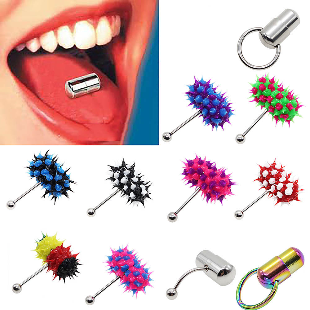 Women Men Rubber Stainless Steel Barbell Vibrating Tongue