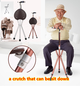 Lightweight flashlight  portable stool walking stick adjustable crutch chair a crutch with  stool