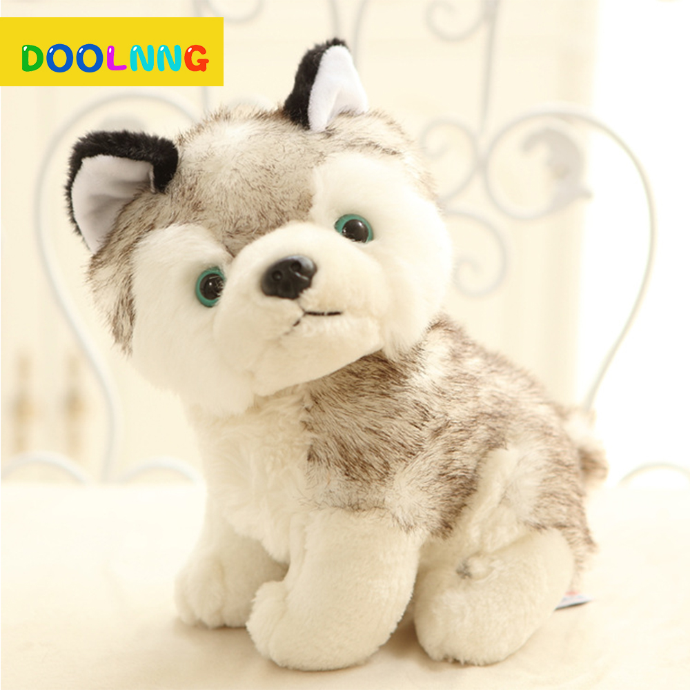 DOOLNNG 18 CM Kawaii Simulation Q Version Husky Dog Plush Toys Gift For Kids Lovely Cartoon Pets Stuffed Plush Toy DL-253 80cm dog stuffed toys plush toy creative simulation doll white pattern dog home furnishings dog animal trade for kids gift