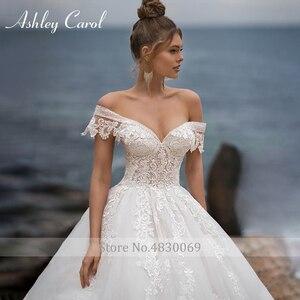 Image 3 - Ashley Carol line suknia ślubna 2020 Sweetheart zroszony aplikacje zasznurować suknie panny młodej katedra Vestido De Noiva De Princesa