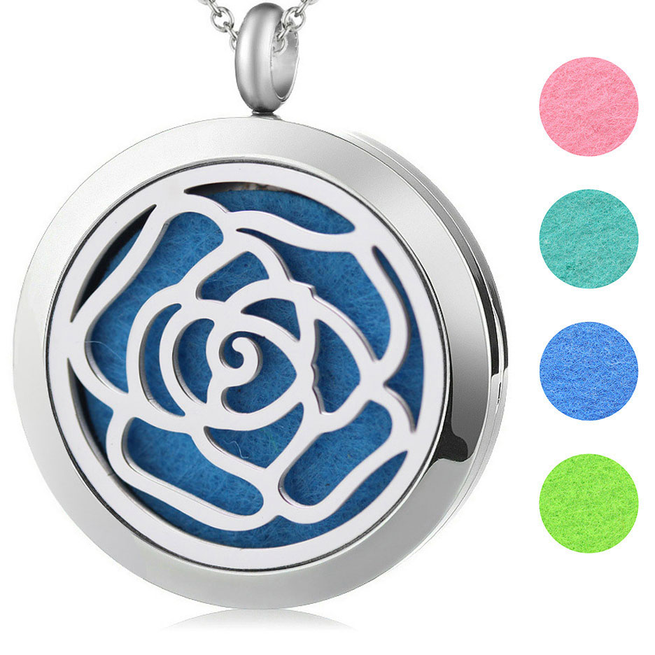 Silver Jewelry Round Rose Flower Aromatherapy Oils Stainless Steel Pendant Perfume Diffuser Locket Necklace free
