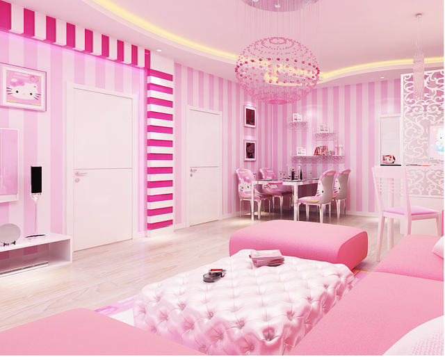 Buy the new pink non woven flocking for Striped wallpaper living room