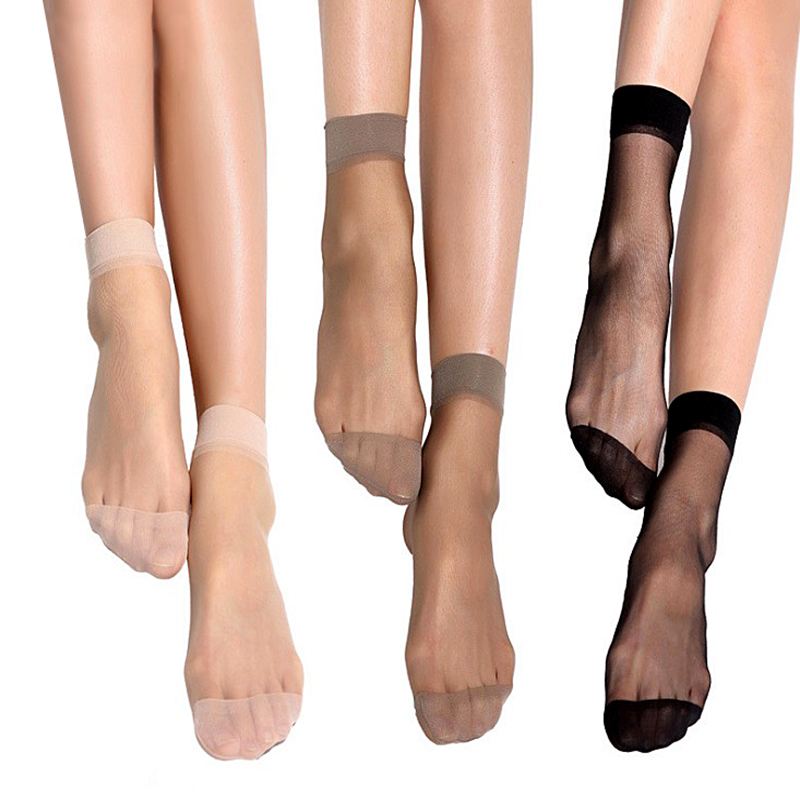 10airs wholesale women summer sexy ultrathin transparent crystal silk socks high elastic skin color nylon short socks dropship