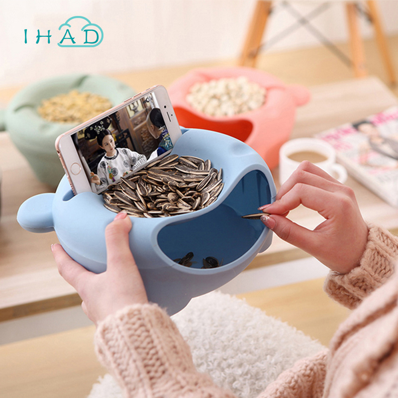 Creative nuts box melon seeds candy plate dried fruit boxes storage box fruit plate organizer for Leisure time phone holder