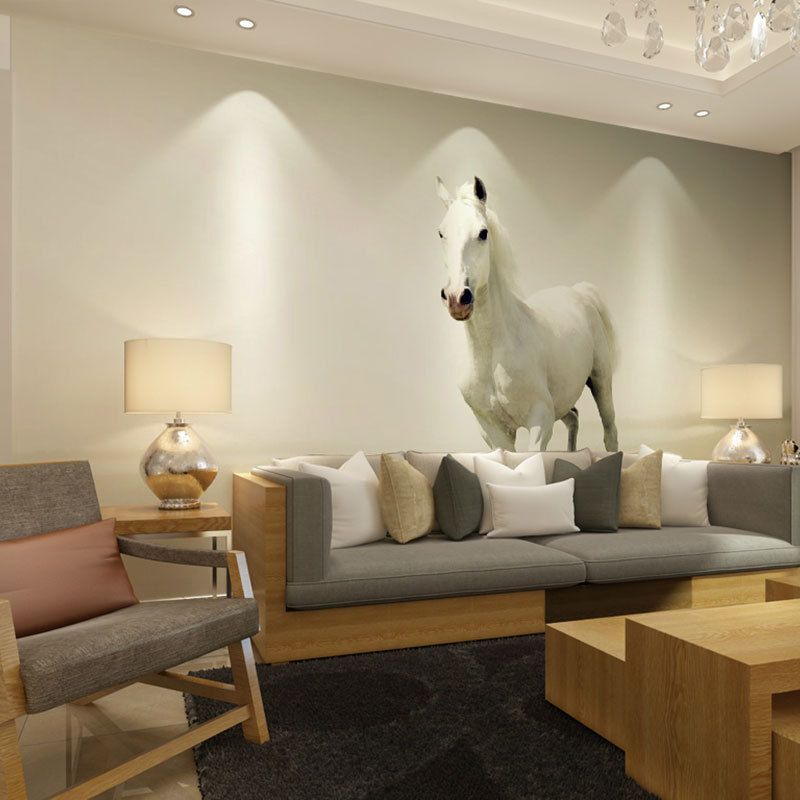 Beibehang White Horse Photo Prints Posters Wall Decals Papel De Parede Mural Wallpaper For Living Room Paper Home Decor In Wallpapers From