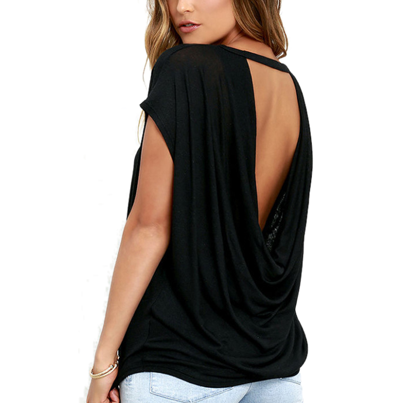 1cee5d4826f 2018 Summer Sexy Backless Tshirt Women Plus Size Casual Loose Harajuku T  Shirt Top Solid Female Bandage Summer Tops 2018 free shipping worldwide