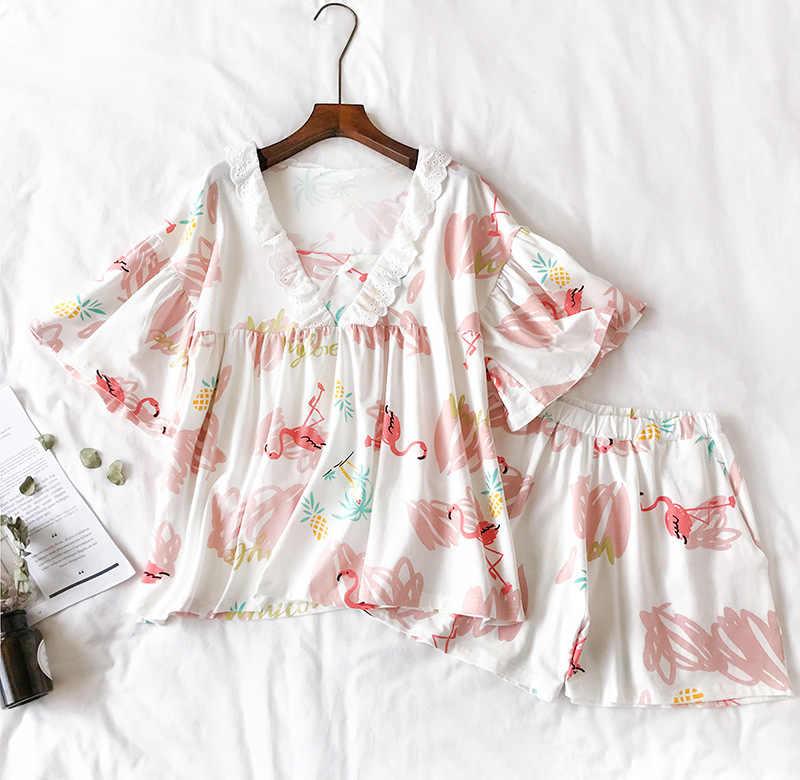 2019 Yaz Pamuk Kadın Pijama Setleri Flamingo Desen Flare Kollu V Boyun Seksi Üst + Elastik Bel Şort Ev Giyim 2 adet Takım Elbise