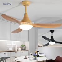 48 inch LED 24w Nordic mute ceiling fans with lights minimalist dining living room ceiling fan with remote control 52SW 1043