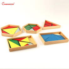 Kids Montessori Educational Toys Constructive Triangle With Boxes Games Brain Teaser Develop Sensory Wood Sensorial SE030-3