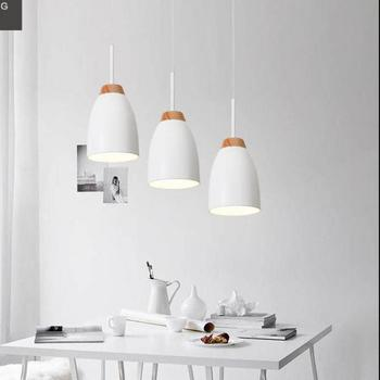 Hanging 3 Pcs cord pendant lights for dining room Kitchen Lighting wood pendant lamp E27 Lamparas De Techo hotel led fixtures