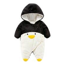 2017 симпатичный дизайн Пингвин ребенка комбинезон, супер мягкий флис новорожденных одежда теплое зимнее пальто мальчик куртки детские комбинезон