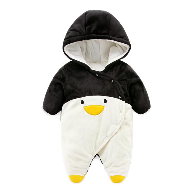 2017 desigh bonito do Pinguim do bebê rompers, super macio velo newborn roupas quentes de inverno casacos de bebê jaqueta menino macacão
