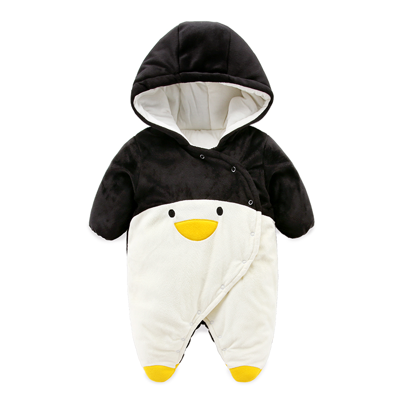2018 cute desigh Penguin baby rompers , super soft fleece newborn clothes warm winter coats  boy jacket baby  jumpsuit пинетки митенки blue penguin puku