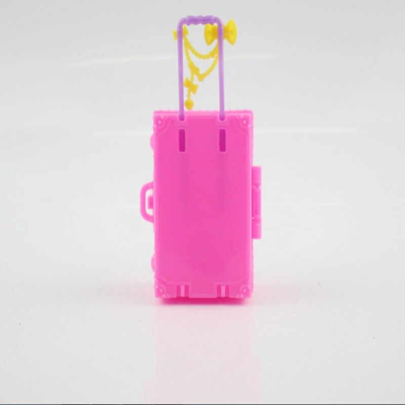 Linda maleta de viaje de plástico en 3D para niños y niñas, maleta para equipaje, maletero para Casa de muñecas Barbie, juguetes para casa de muñecas, muebles de juguete para regalo