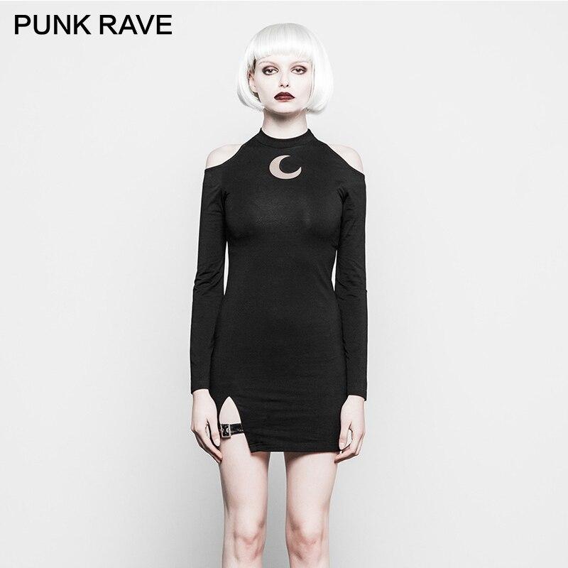PUNK RAVE Nouveau Gothique Fantaisie Femmes Noir Tricoté Tissus Vêtements Costume Lune Motif Serré Sexy Bretelles Épaule Fourche Robe