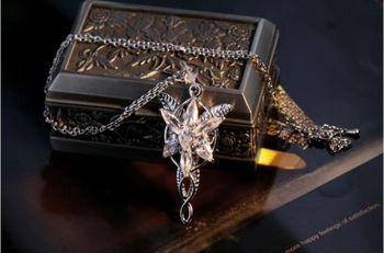 Joyería Retro COOL LOTR 18Kt oro blanco lleno Arwen Evenstar AAA collar de circonia cúbica colgante DÍA DE LA Madre regalo