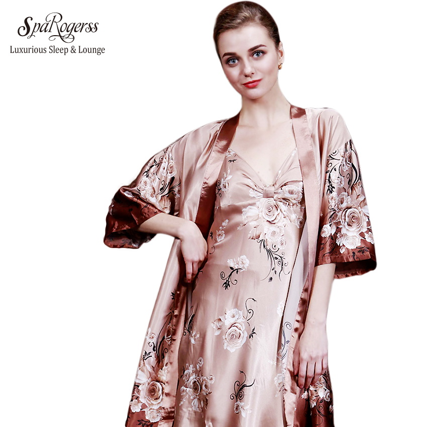 SpaRogerss Women Robe Gown Set 2017 Hot Sale Ladies Bath Robe Sling Set 2 Piece Sexy Noble Robe Set Of Mother Bathrobe YT091