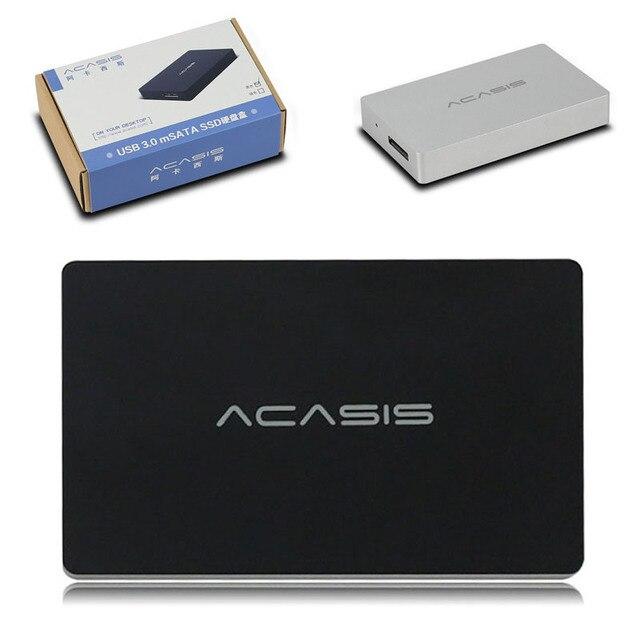 De alta Velocidade USB 3.0 Acasis FA-2413 mSATA SSD Gabinete Externo caixa de disco rígido móvel de Alumínio Gabinete HDD mSATA mSATA para USB3.0