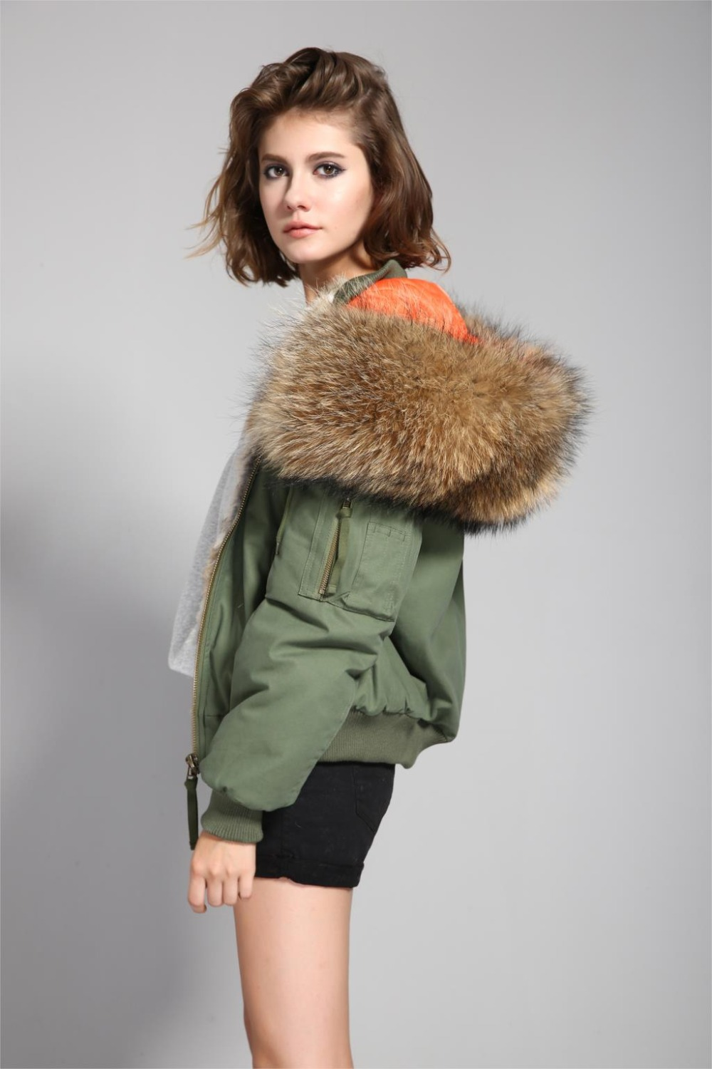 Girls Bomber Jacket With Fur Hood