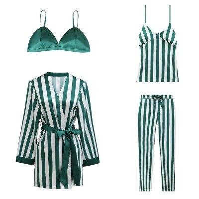 2019 New Design Women Satin   Pajamas     Sets   Robe+Bras+Suspender+Trousers 4Pcs Suits Female Sexy Striped Pijamas Luxury Homewear