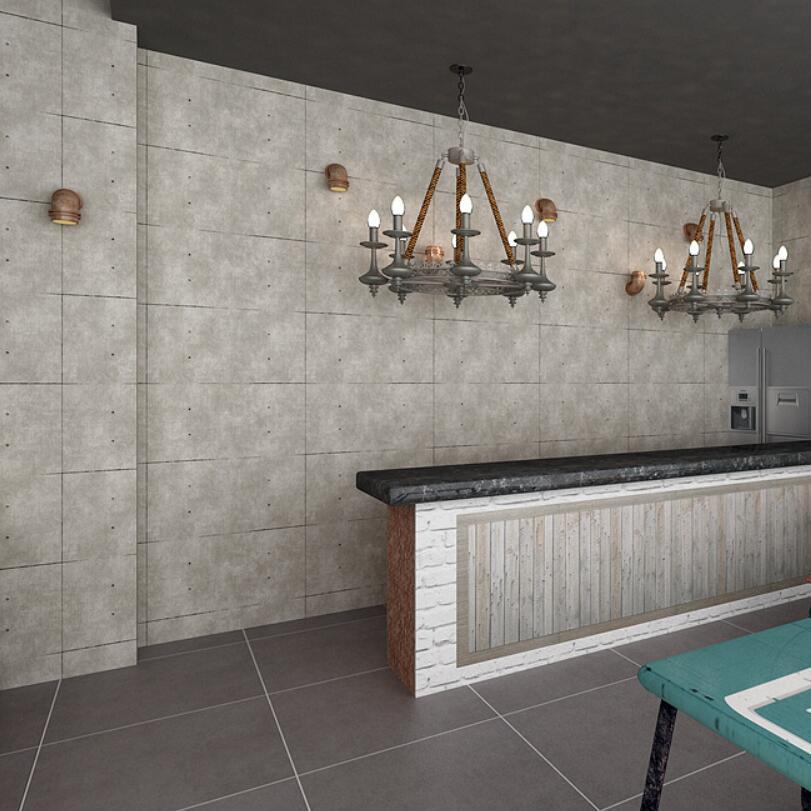 2019 Vintage rétro Loft papier peint étanche PVC grille fonds d'écran gris ciment salon papier peint salon de coiffure 3d Behang EZ181