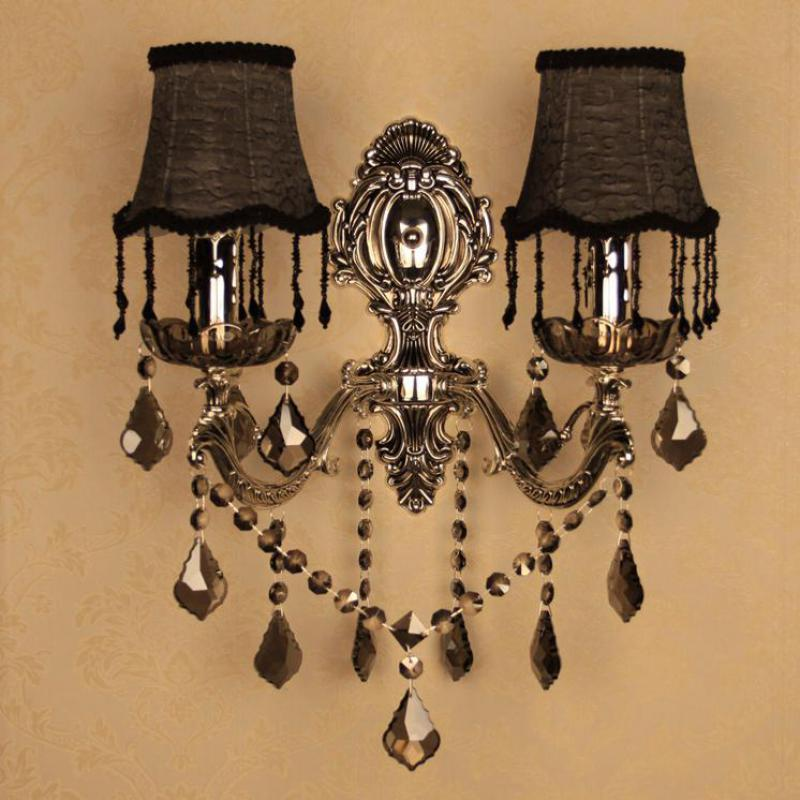 Bar black silver wall Lamps Vintage silver smoke 2-arms Wall light Bedroom Antique smoke grey Crystal Wall fixture Arandela E14 the ivory white european super suction wall mounted gate unique smoke door