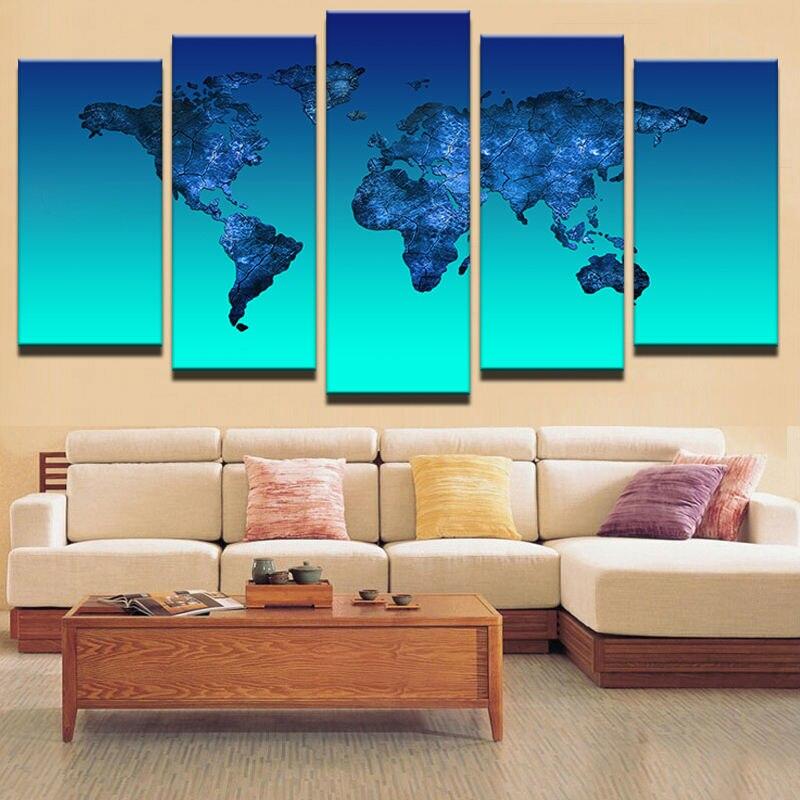 5 Panel HD Gedruckt Gerahmte Licht Blue Ocean Welt Karten Moderne ...
